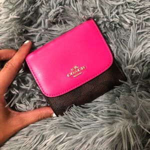 Coach Pink and Brown Signature Logo Trifold Wallet